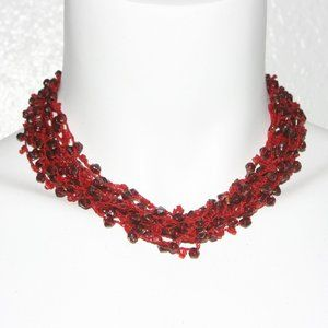 Vintage Red Beaded Necklace Adjustable Clasp